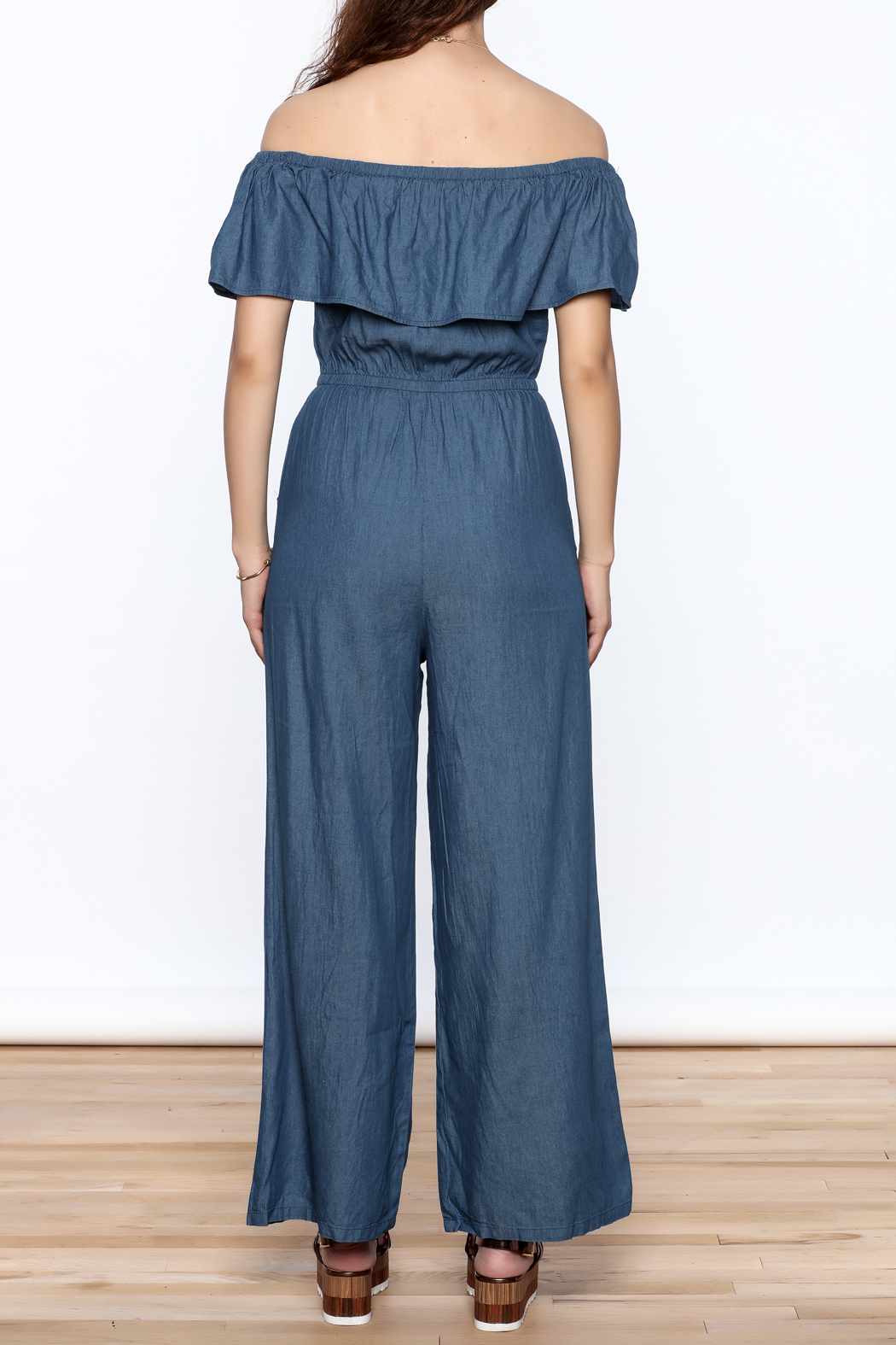 Jealous Tomato Denim Off Shoulder Jumpsuit - Back Cropped Image