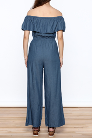 Jealous Tomato Denim Off Shoulder Jumpsuit - Back cropped