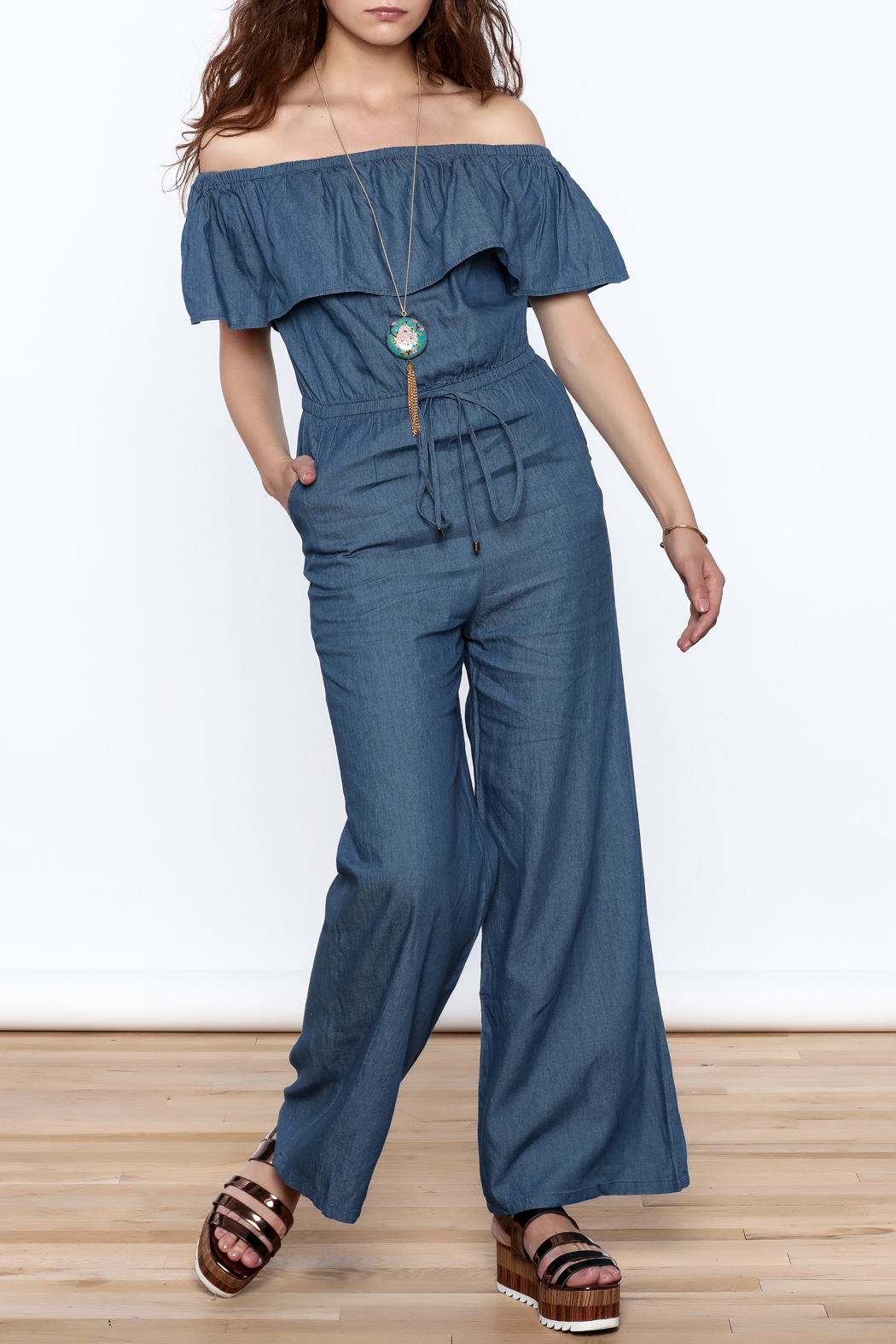 Jealous Tomato Denim Off Shoulder Jumpsuit - Main Image