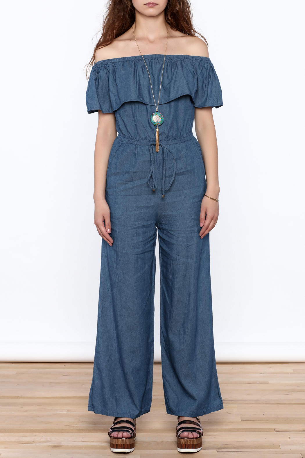 Jealous Tomato Denim Off Shoulder Jumpsuit - Front Cropped Image
