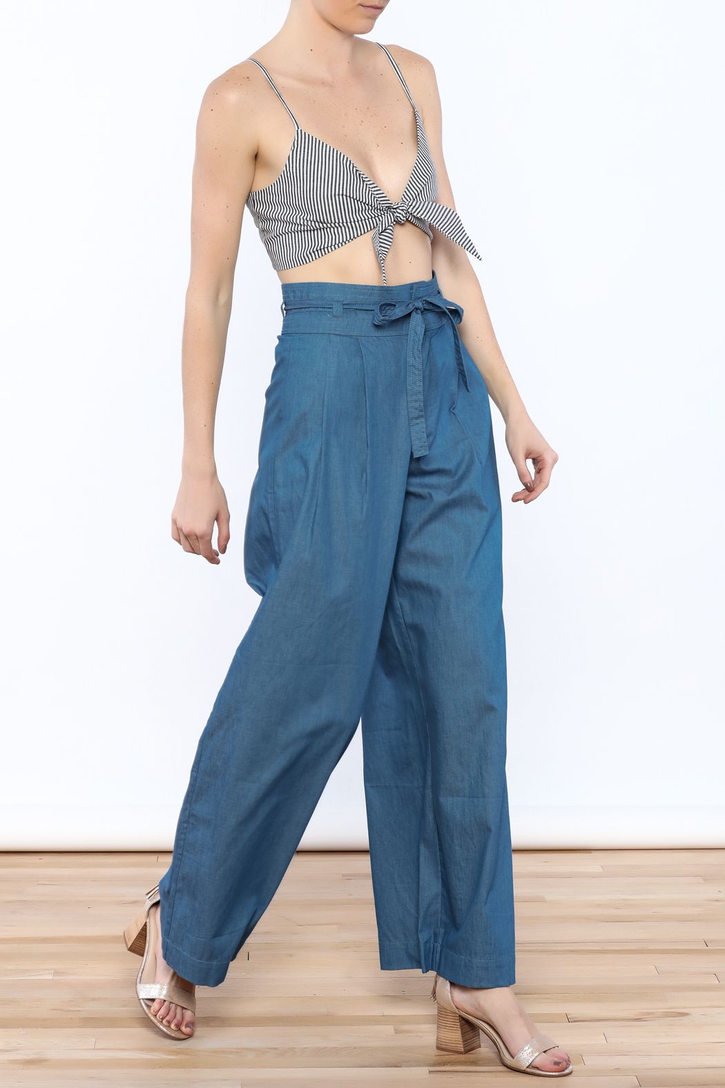 Jealous Tomato Wide Leg Denim Pants - Front Full Image