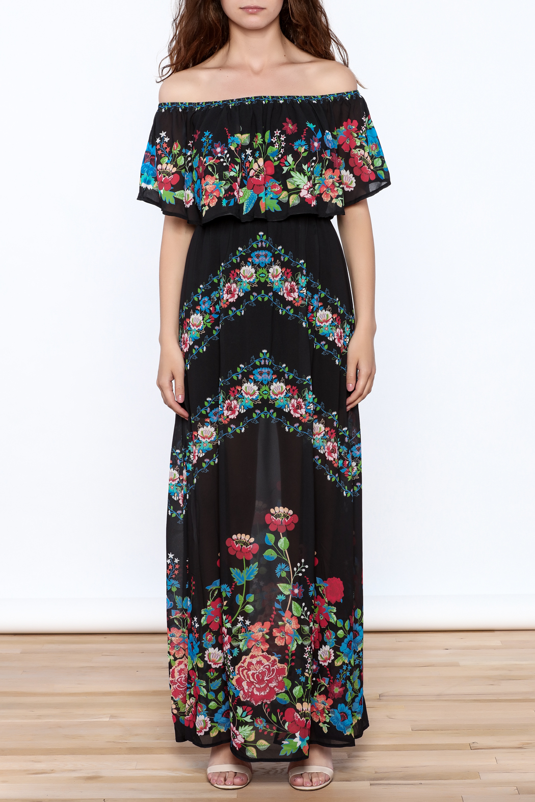 Jealous Tomato Black Floral Maxi Dress - Front Cropped Image