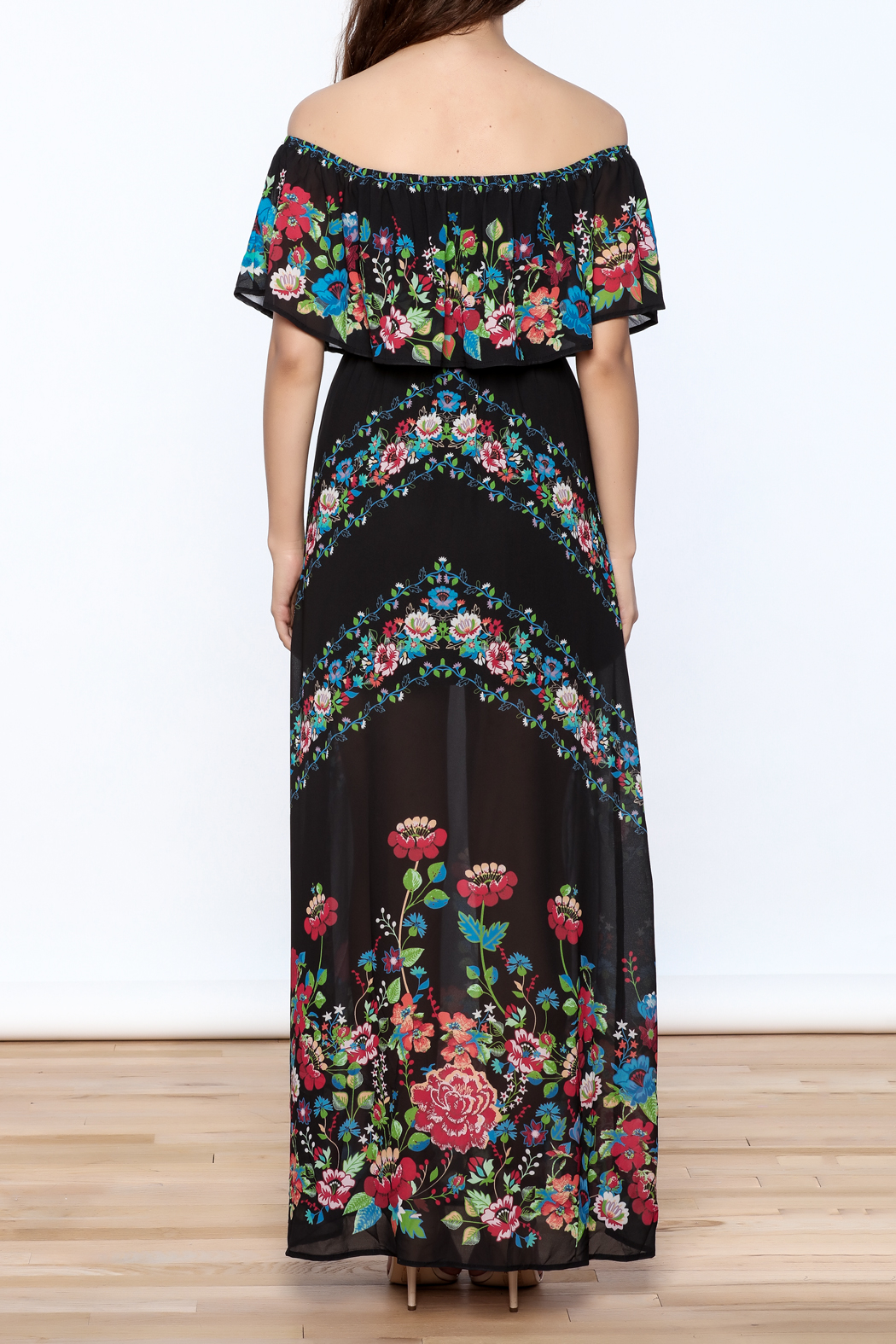 Jealous Tomato Black Floral Maxi Dress - Back Cropped Image