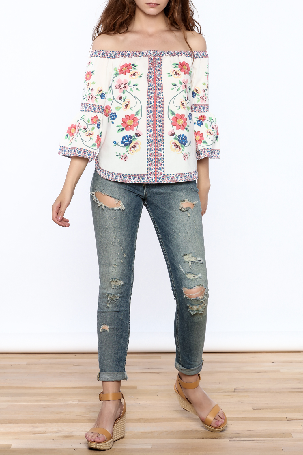 Jealous Tomato Floral Boho Top - Front Full Image
