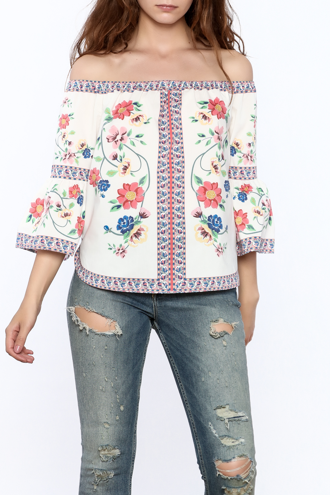Jealous Tomato Floral Boho Top - Front Cropped Image