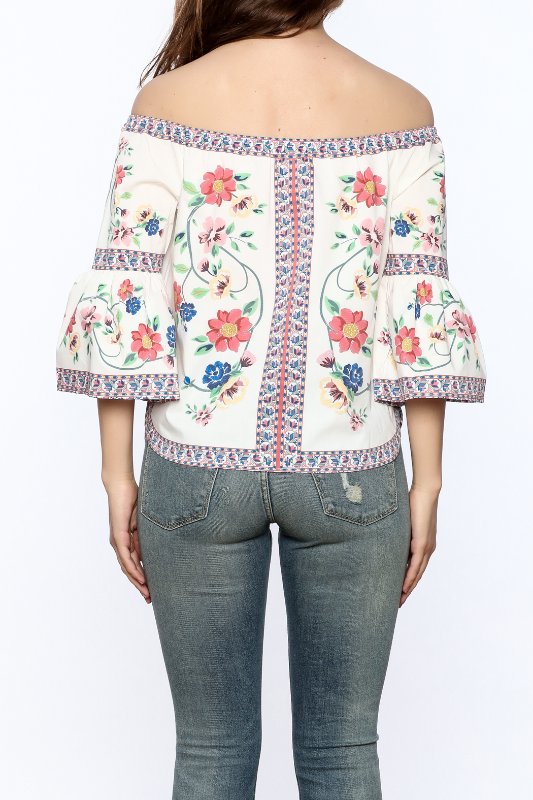 Jealous Tomato Floral Boho Top - Back Cropped Image