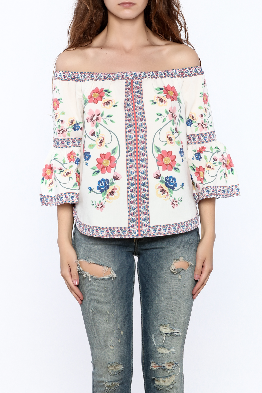 Jealous Tomato Floral Boho Top - Side Cropped Image