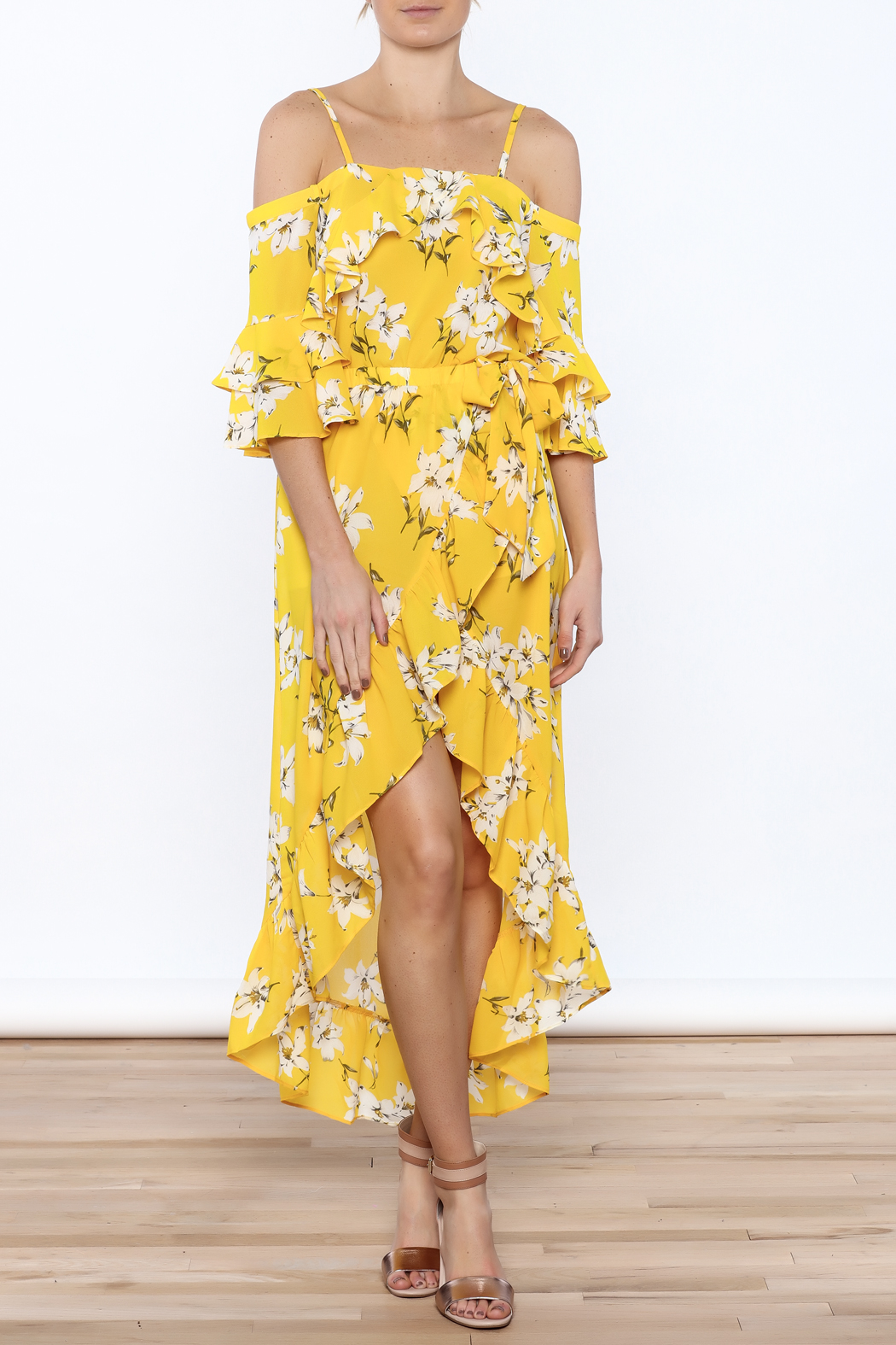 Jealous Tomato Bright Yellow Floral Skirt - Front Full Image