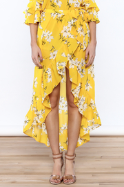 Jealous Tomato Bright Yellow Floral Skirt - Side cropped