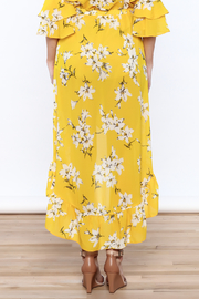 Jealous Tomato Bright Yellow Floral Skirt - Back cropped