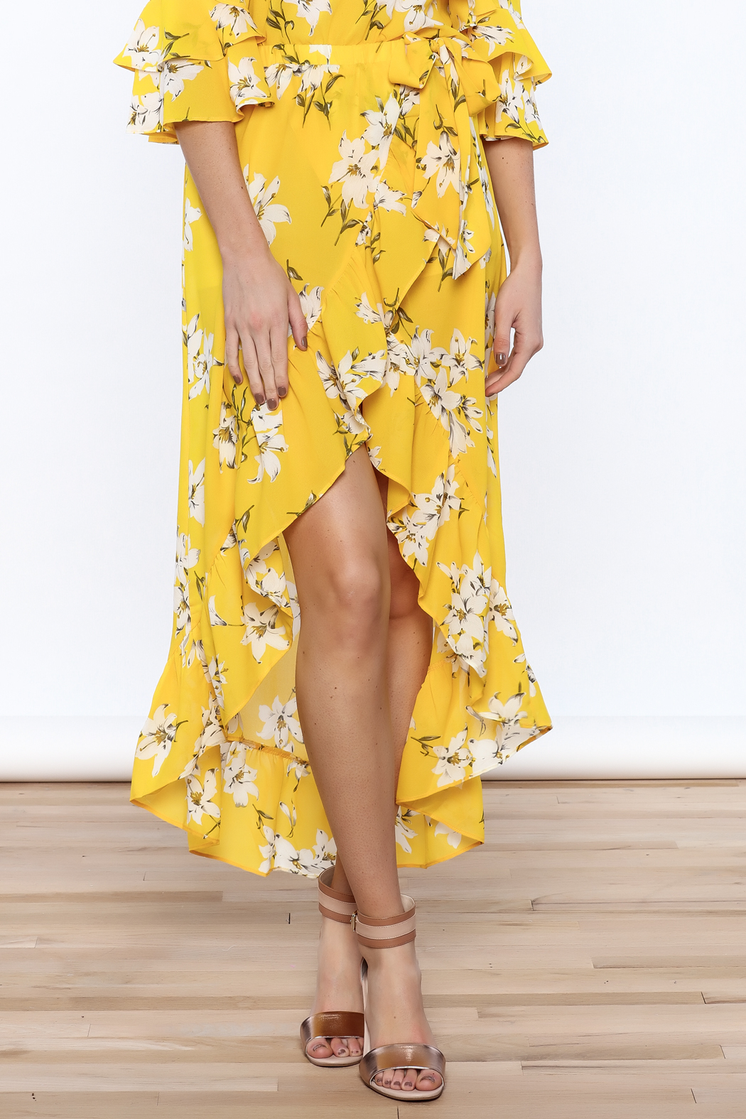 Jealous Tomato Bright Yellow Floral Skirt - Main Image