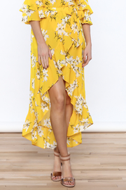 Jealous Tomato Bright Yellow Floral Skirt - Front cropped