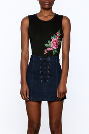 Jealous Tomato Black Floral Embroidered Bodysuit - Side cropped
