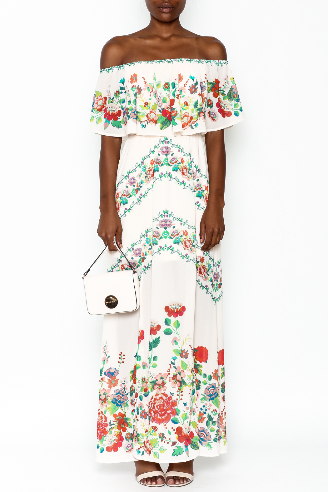 Jealous Tomato Off Shoulder Maxi Dress - Front Full Image