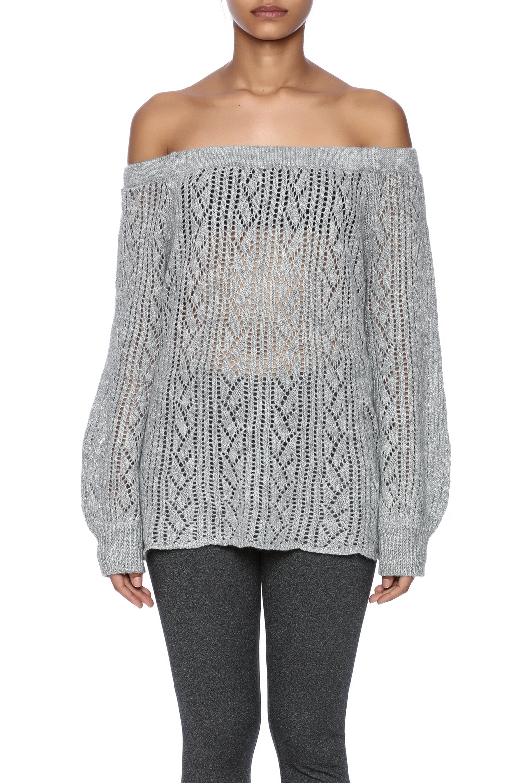 Jealous Tomato Off Shoulder Sweater - Side Cropped Image