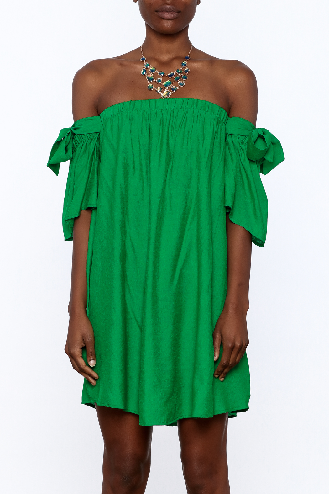 Jealous Tomato Green Shift Dress - Side Cropped Image
