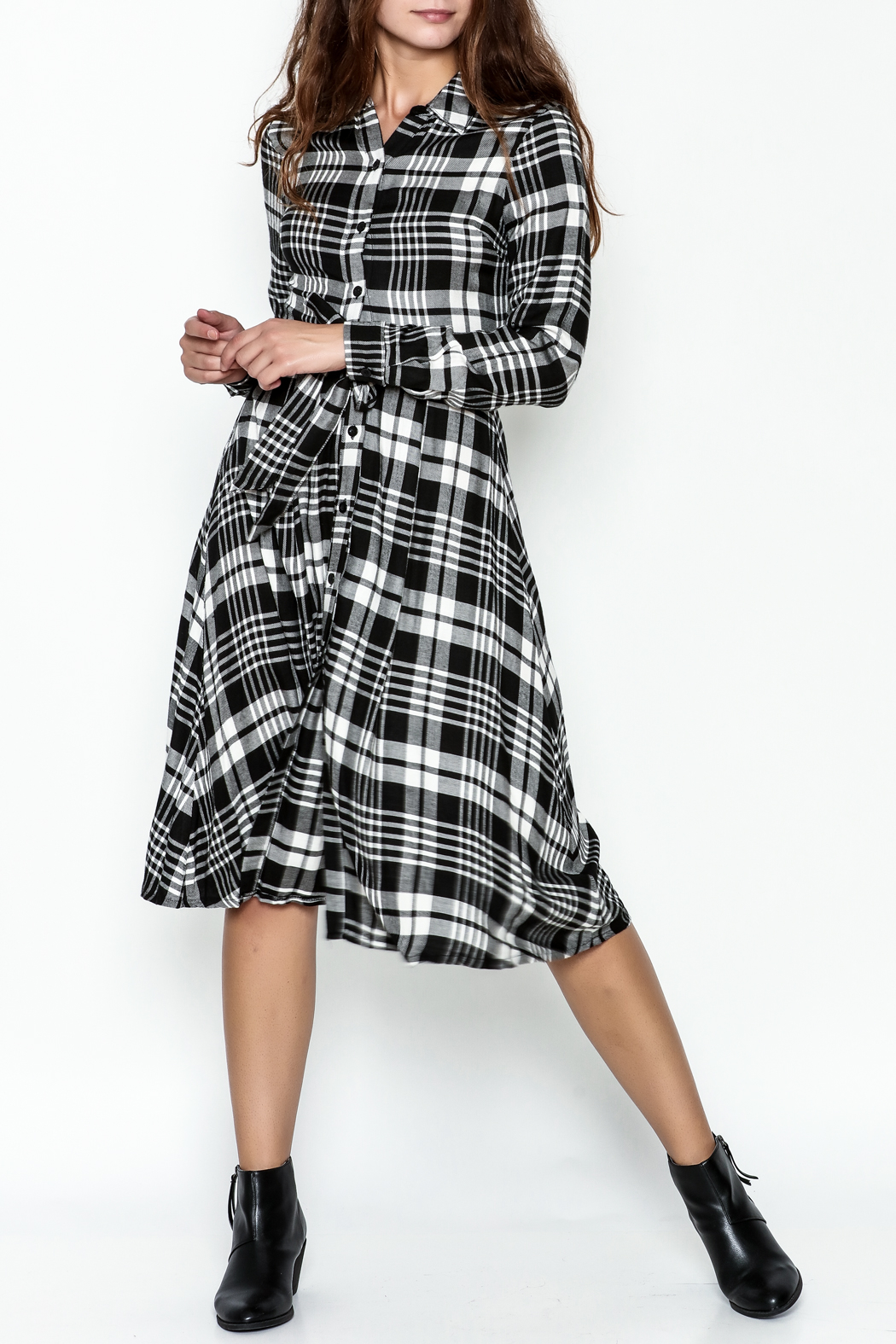 Jealous Tomato Plaid Shirt Dress - Front Cropped Image