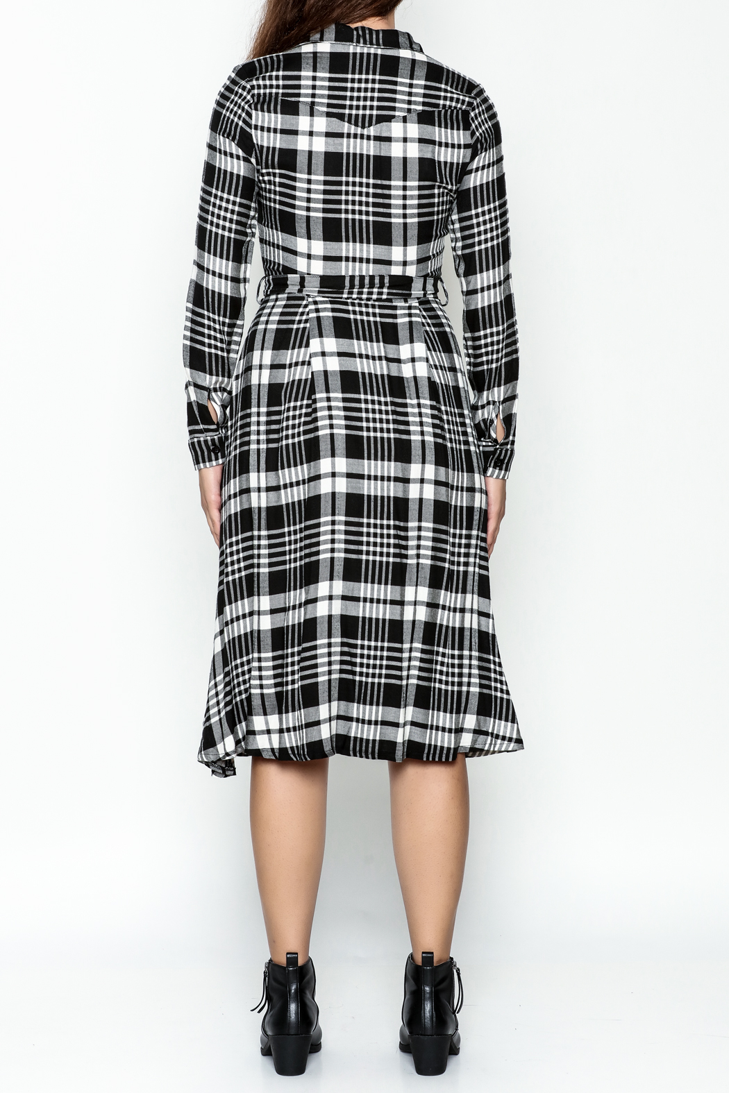 Jealous Tomato Plaid Shirt Dress - Back Cropped Image