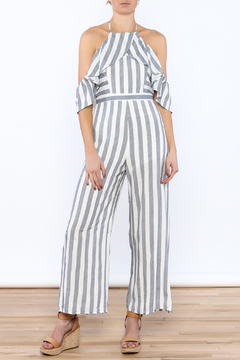 Shoptiques Product: Grey Stripe Print Jumpsuit