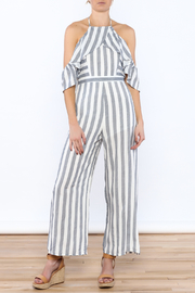 Jealous Tomato Grey Stripe Print Jumpsuit - Product Mini Image