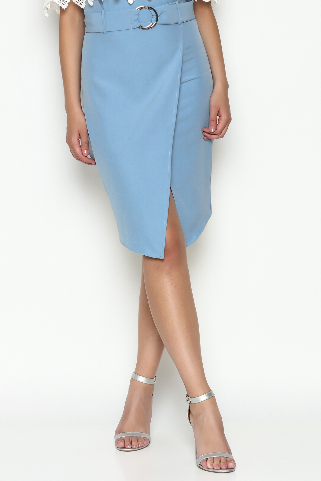Jealous Tomato Blue Belted Skirt - Front Cropped Image