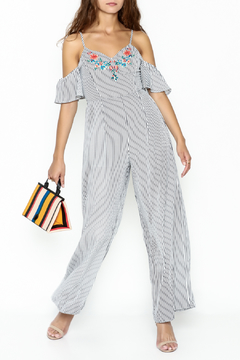 Shoptiques Product: Striped Embroidered Jumpsuit