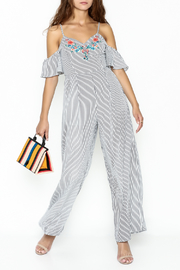Jealous Tomato Striped Embroidered Jumpsuit - Product Mini Image