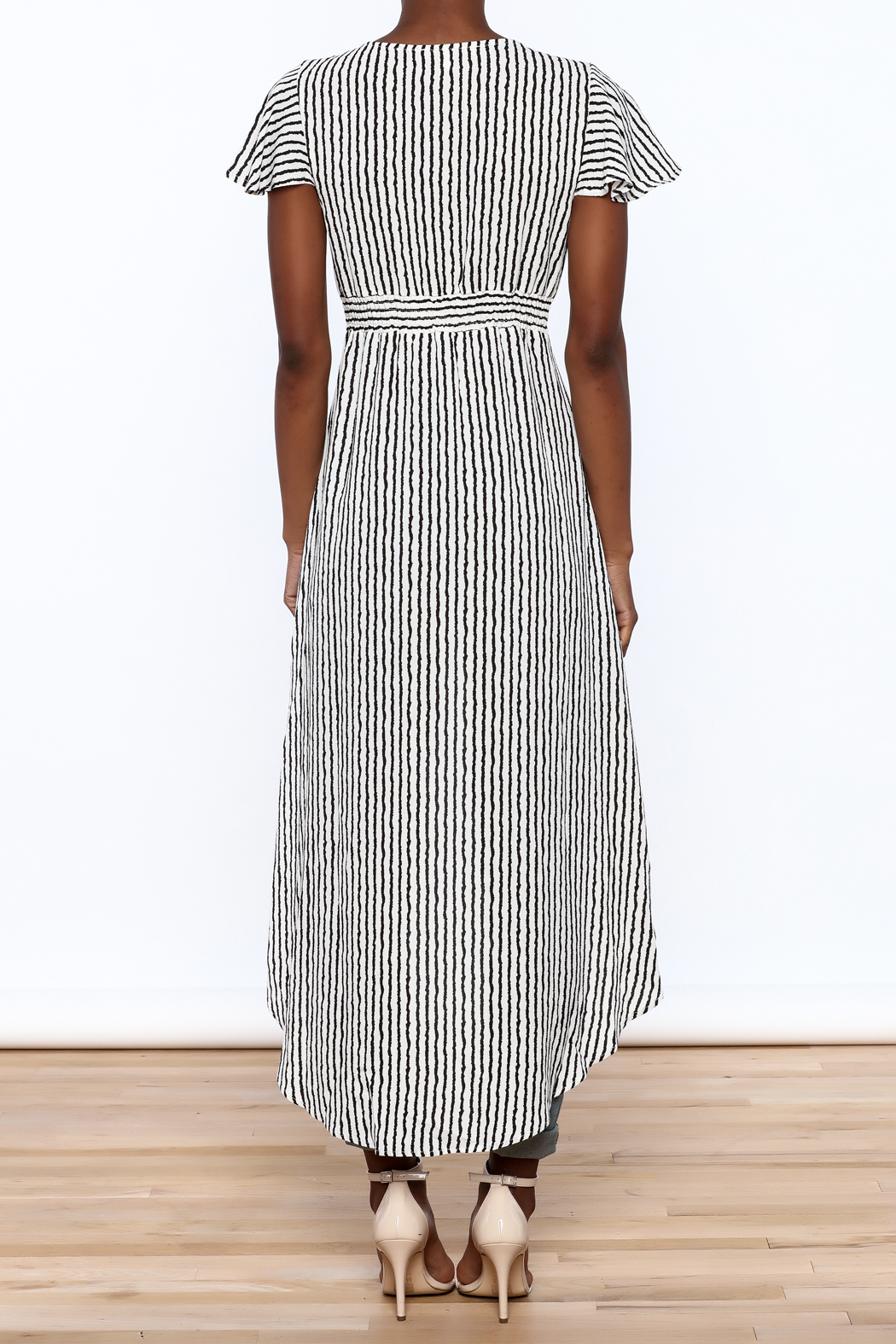 Jealous Tomato Stripe Print Maxi Top - Back Cropped Image