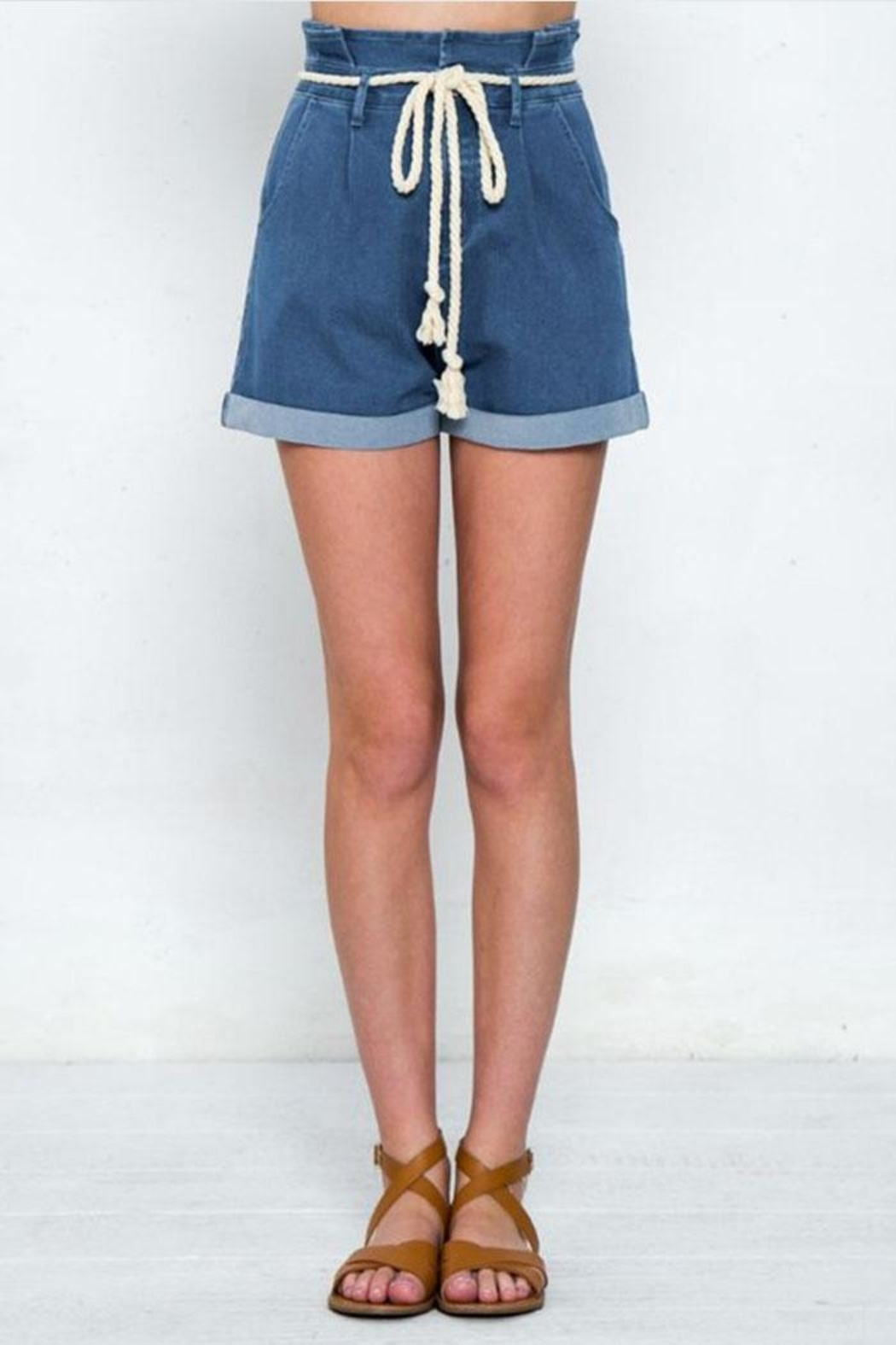 Jealous Tomato Belted Denim Shorts - Front Cropped Image