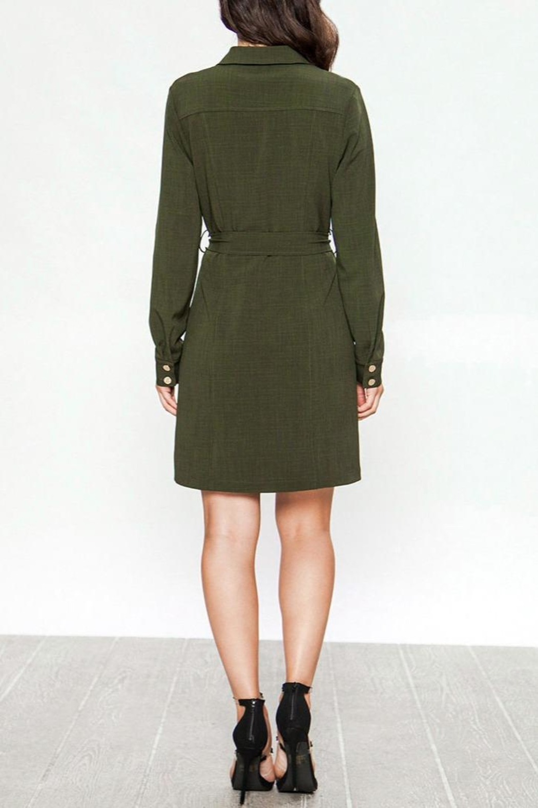 Jealous Tomato Belted Military Dress - Side Cropped Image