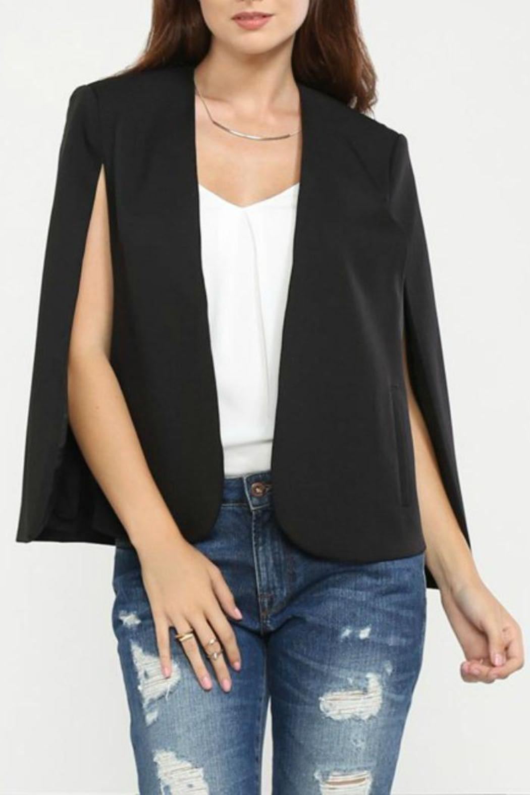 Jealous Tomato Black Cape Blazer - Main Image