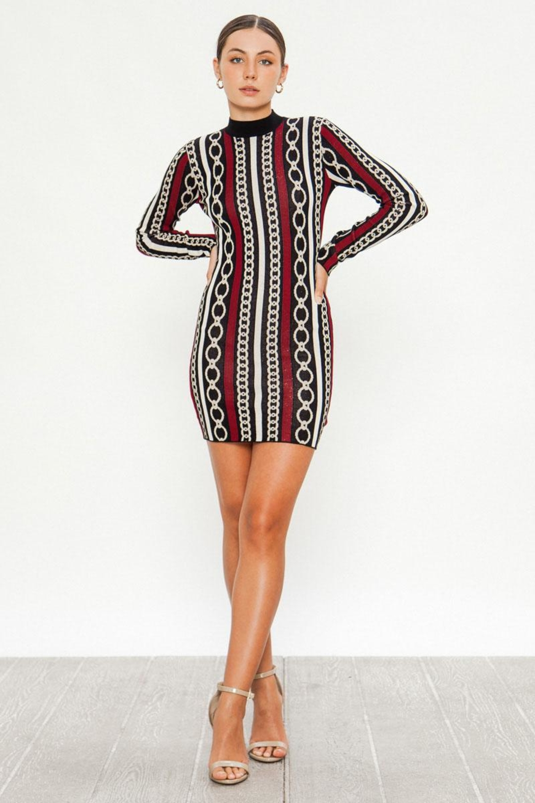 Jealous Tomato Chain Knit Dress - Front Cropped Image