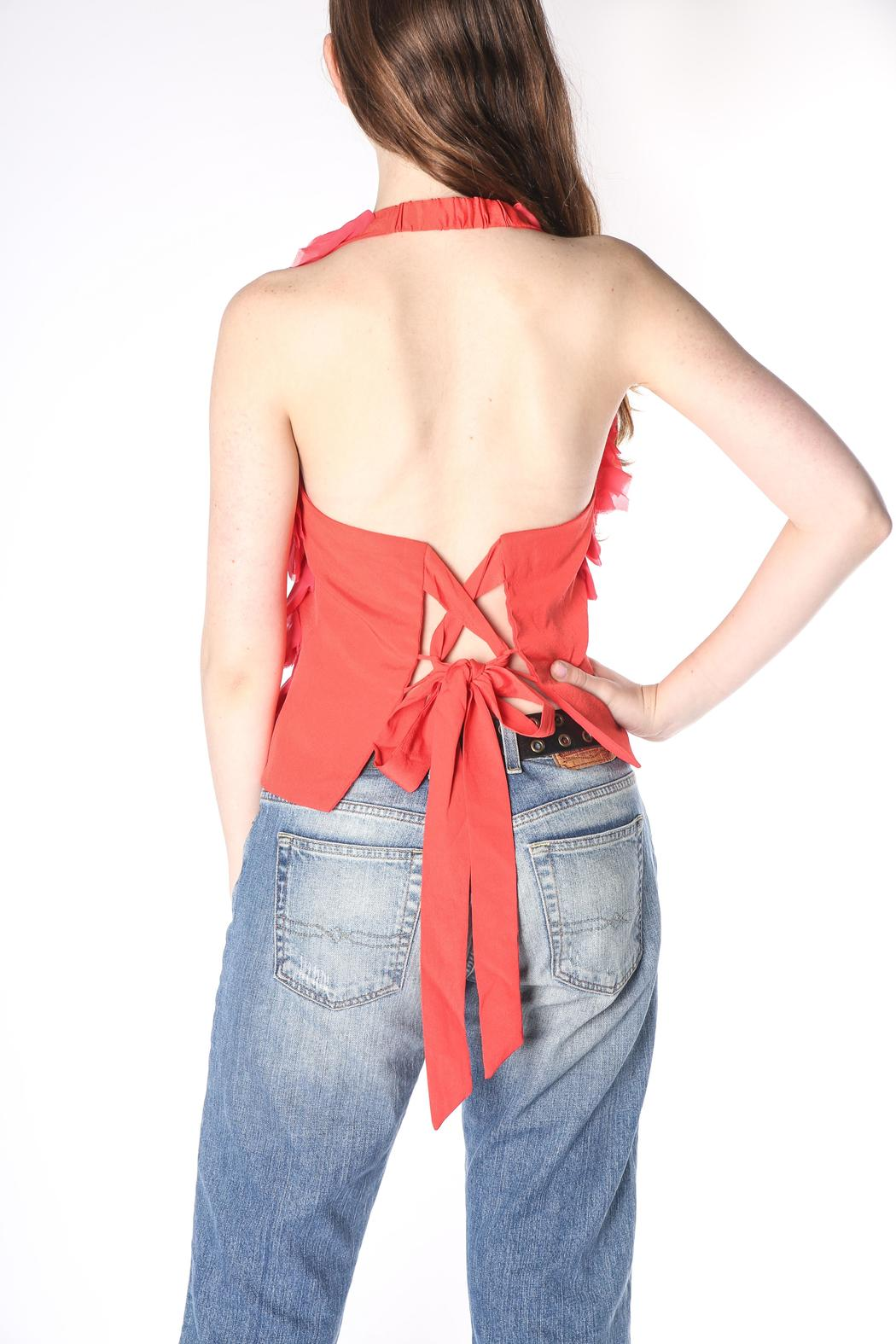 Jealous Tomato Coral Ruffle Halter - Front Full Image