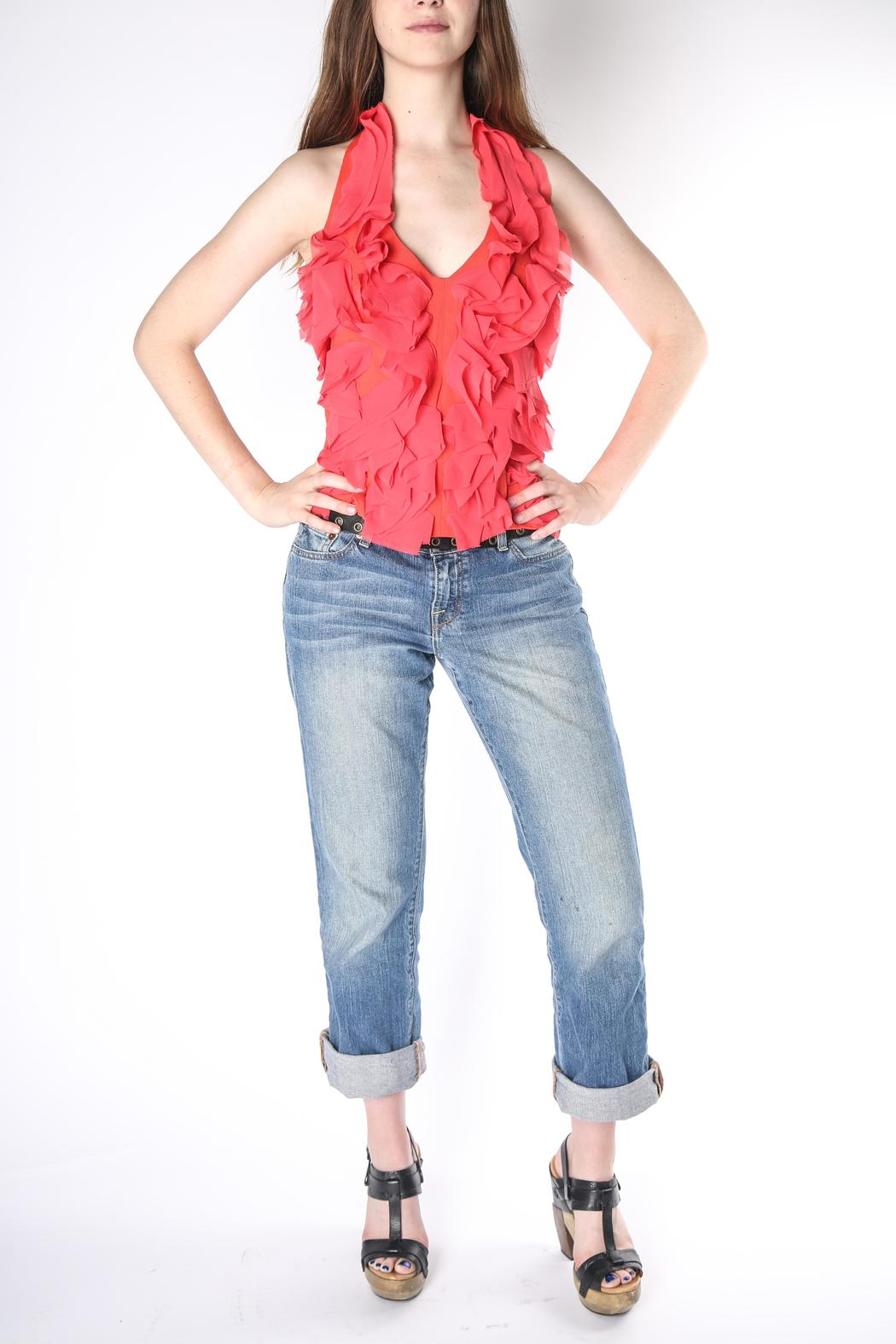 Jealous Tomato Coral Ruffle Halter - Front Cropped Image
