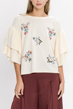 Jealous Tomato Cream Embroidered Sweater - Product List Image