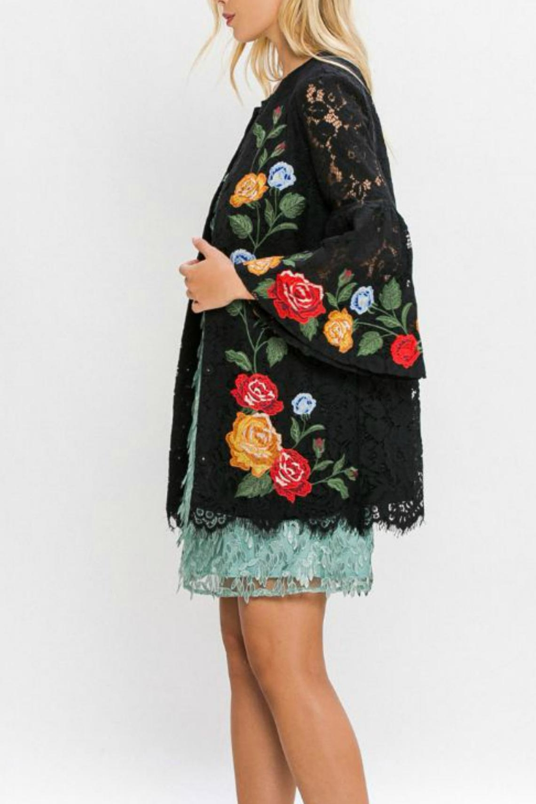 Champagne & Strawberry Crochet Lace Jacket - Side Cropped Image