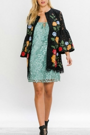 Champagne & Strawberry Crochet Lace Jacket - Front full body