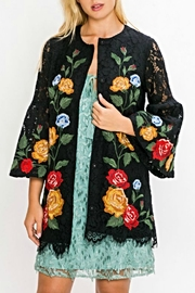 Champagne & Strawberry Crochet Lace Jacket - Front cropped