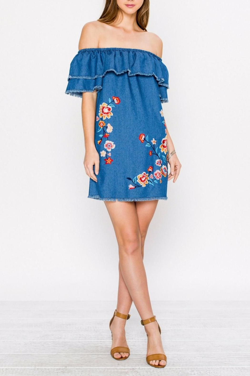 Jealous Tomato Denim Embroidered Dress - Front Cropped Image