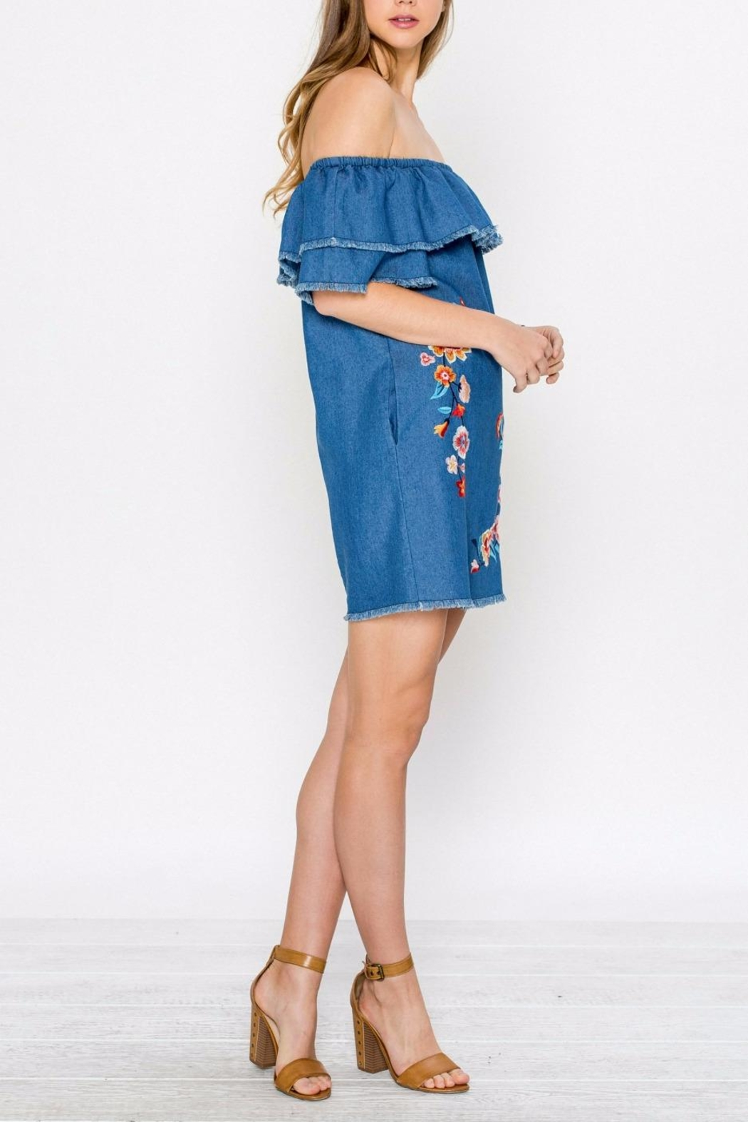 Jealous Tomato Denim Embroidered Dress - Side Cropped Image