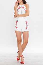 Jealous Tomato Embroidered High Waisted Shorts - Side cropped