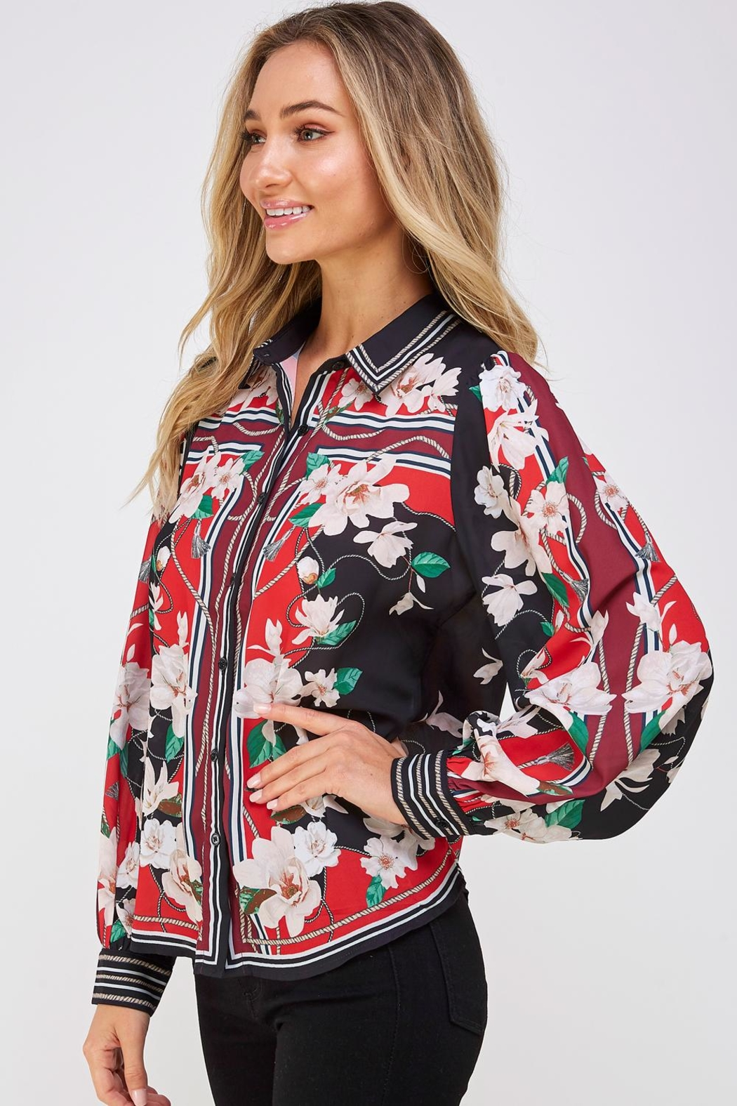 Jealous Tomato Floral Button Down - Side Cropped Image