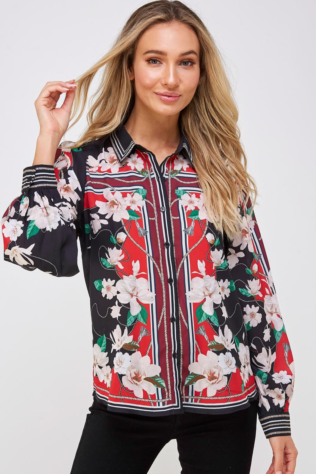 Jealous Tomato Floral Button Down - Front Cropped Image