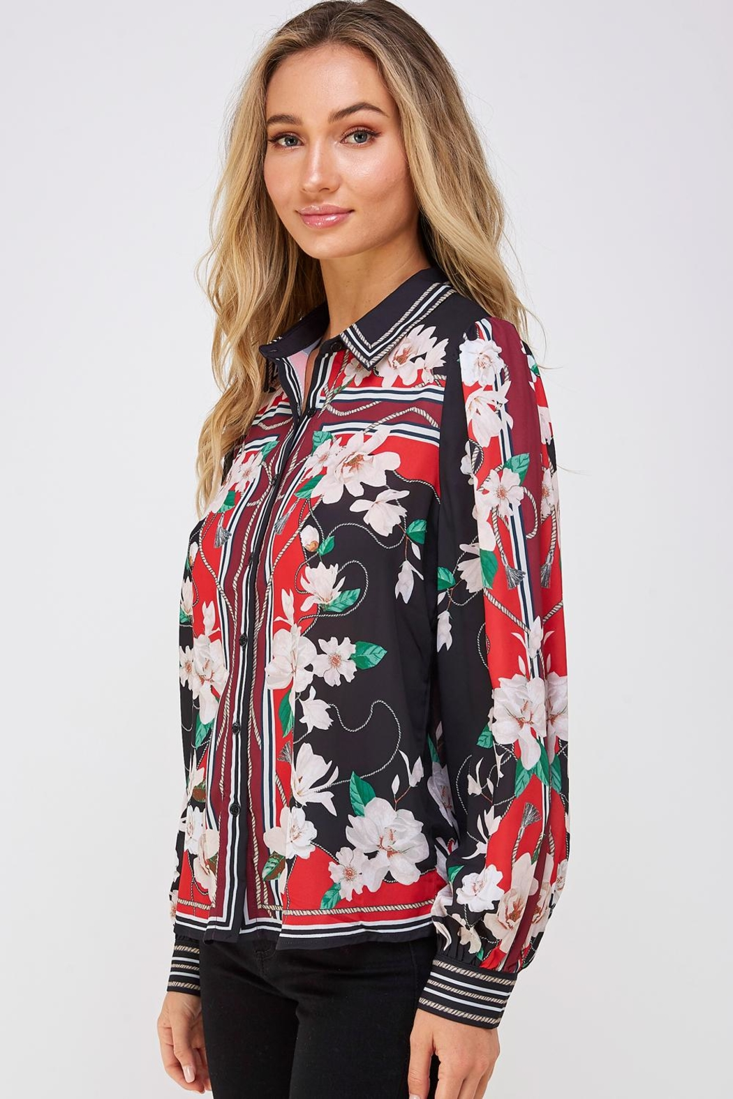Jealous Tomato Floral Button Down - Front Full Image
