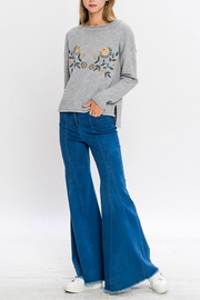 Jealous Tomato Floral Embroidered Sweater - Front full body