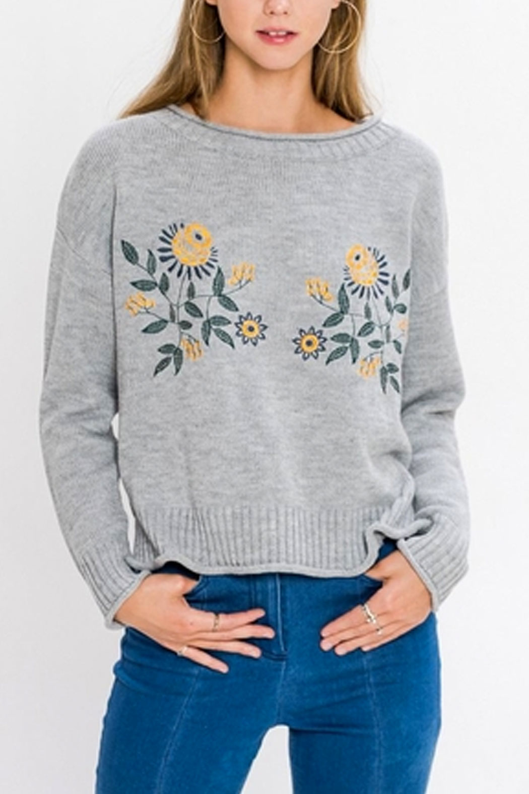 Jealous Tomato Floral Embroidered Sweater - Main Image