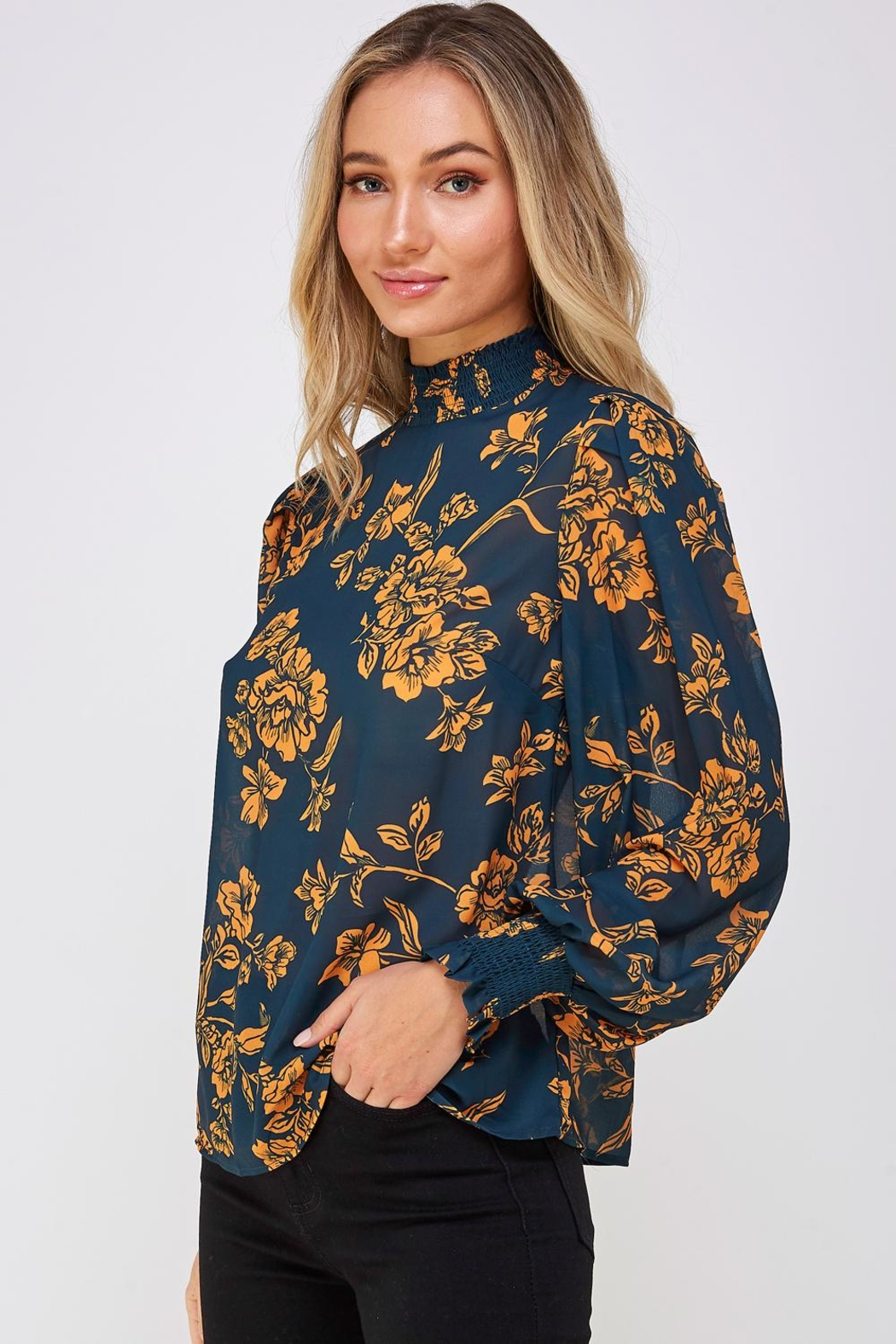 Jealous Tomato Floral High-Neck Blouse - Side Cropped Image