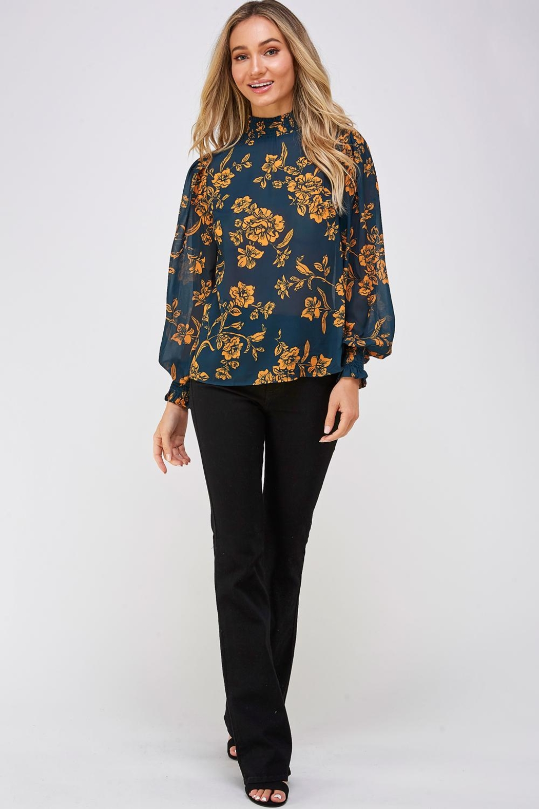 Jealous Tomato Floral High-Neck Blouse - Front Full Image