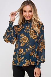Jealous Tomato Floral High-Neck Blouse - Product Mini Image