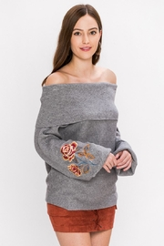 Jealous Tomato Floral Sleeve Sweater - Front full body